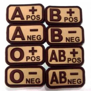 PVC 3D Blood Type Patch w/ Velcro - Brown / Khaki
